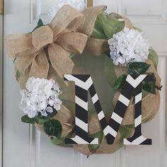 Flowered monogram burlap wreath