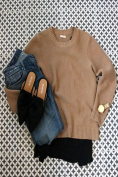 Create a classy look styling jeans with a structured sweater and chiffon blouse. The added touches make it one of my favorites Source by taramarrelli fashion classy Sweater Outfits, Casual Outfits, Cute Outfits, Fashion Outfits, Womens Fashion, Women's Casual, Fashion Top, Fashion 2018, Fashion News
