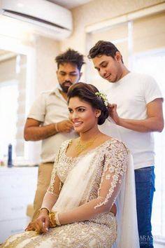 Christian Wedding Sarees, Christian Bride, Wedding Sari, Wedding Bride, White Saree, Pink Saree, Bridal Sarees, Bridal Dresses, Sri Lankan Wedding Saree