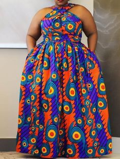 Ericdress Plus Size Floor-Length Sleeveless African Fashion High Waist Dress at Diyanu Ankara Styles For Women, African Dresses For Women, African Print Dresses, African Print Fashion, African Attire, African Wear, African Fashion Dresses, Plus Size Dresses, Plus Size Outfits