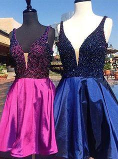 2017 homecoming dresses,royal blue homecoming dresses,short prom dresses,beaded homecoming dresses,modest homecoming dresses @SevenProm