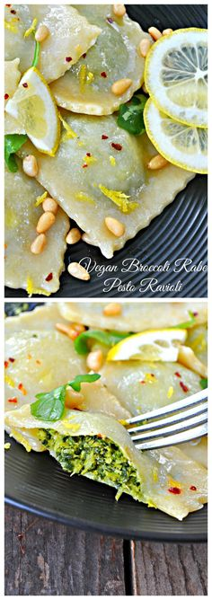Vegan Broccoli Rabe Pesto Ravioli - Looks yummy - Pasta Pesto Ravioli, Ricotta, Vegetarian Recipes, Healthy Recipes, Raw Recipes, Vegan Meals, Vegan Pasta, Vegan Dishes, Relleno
