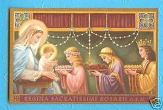 Vintage-1930s-Holy-Card-Queen-of-the-Most-Holy-Rosary-Mother-Nealis-art