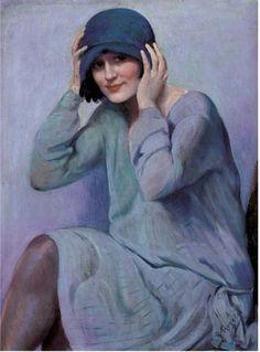 """▴ Artistic Accessories ▴ clothes, jewelry, hats in art - Rafael Escriche Argelès. """"Le chapeau bleu"""""""