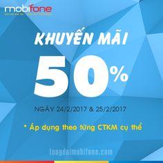 Khuyến mãi nạp thẻ 50% Mobifone ngày 24 và 25/2/2017