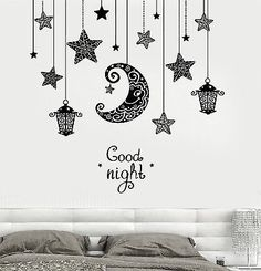 Vinyl Decal Wall Quote Good Night Moon Stars Candle Lantern Light Romantic Sticker for Bedroom (z3191)