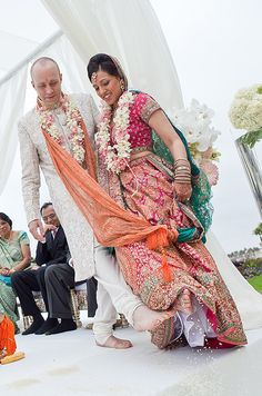 The couple performed traditional Hindu rituals at their ceremony.