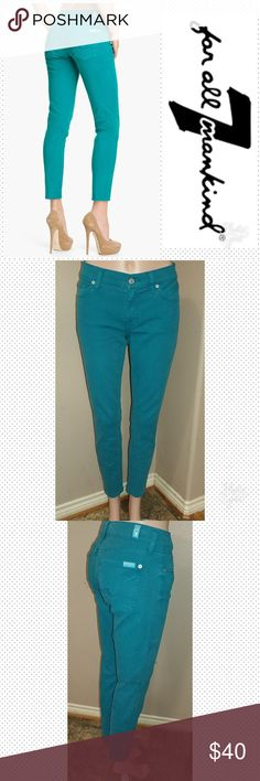 """7 FAM Roxanne Skinny Flood size 27 7 FAM Roxanne Skinny Flood size 27, inseam 28, waist laid flat 15"""", rise 8"""". Color turquoise. Great condition. First picture for reference. 7 For All Mankind Jeans Ankle & Cropped"""