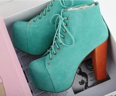 Heels platform boots Like new platform heels boots. Greenish color with wooden heels. Jeffrey campbell look alike. Dream Shoes, Crazy Shoes, Me Too Shoes, Heeled Boots, Shoe Boots, Shoes Heels, Boot Heels, Louboutin Shoes, Ankle Boots