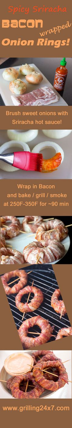 Smoked Bacon Wrapped Onion Rings Recipe with Sriracha Mayo Sauce Appetizer Dips, Appetizer Recipes, Charcuterie, Chorizo, Grilling Recipes, Cooking Recipes, Smoked Bacon, Bacon Wrapped, Onion Rings