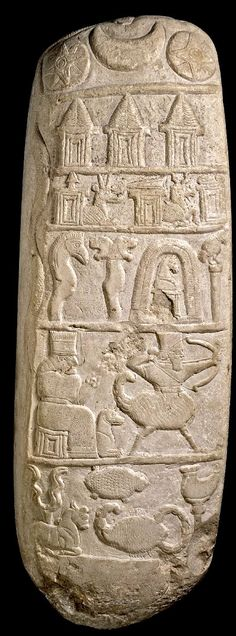 Kudurru, grant deed by Neubchadnezzar I (1125-1104 BCE), Sippar, Babylonia. Six registers. Top to bottom: symbols of astral gods; tiaras of great gods gods Anu (sky), Enlil (air), Ea (water); two horned dragons, one carrying spade, attribute of Marduk, other carrying stylus with tablet the attributes of Marduk's son Nabu, god of scribes; goddess Gula with her dog and scorpion-god;   young bull carrying thunderbolt of Adad (storm god), scorpion of Ishharra, lap of Nusku.