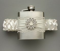 Ivory FLASK GARTER with Crystal Starburst Ivory by MoonshineBelle