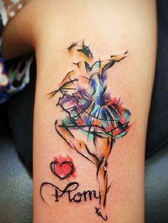 40. #Ballerina - 45 Incredible #Watercolor Tattoos ... → #Beauty #<font><font>黥</font></font>