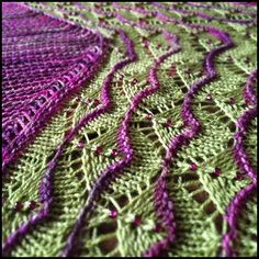Martinmas Shawl by Sarah Burghardt. malabrigo Sock, Rayon Vert and Lettuce colorway.