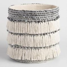 Decor/accessories - Add global style and easy storage to your space with our handcrafted fabric basket from India, a soft nubby gray tote with three festive layers of fringe. Baskets On Wall, Storage Baskets, Easy Storage, Macrame Projects, Global Style, Estilo Boho, Fabric Storage, Affordable Home Decor, White Fabrics