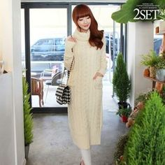 Turtle-Neck Cable-Knit Dress from #YesStyle <3 Soneed YesStyle.com