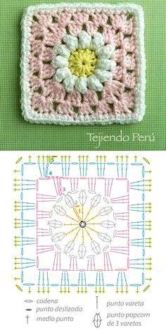 Motifs Granny Square, Granny Square Crochet Pattern, Crochet Flower Patterns, Crochet Stitches Patterns, Crochet Squares, Crochet Chart, Crochet Motif, Diy Crochet, Crochet Designs