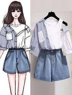 Korean Girl Fashion, Korean Fashion Trends, Ulzzang Fashion, Korean Street Fashion, Teen Fashion Outfits, Stylish Outfits, Girl Outfits, 70s Fashion, Fashion Tips