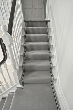 Wool stair runner Bowloom wool carpet with stripes tie in Essex. Striped Carpet Stairs, Grey Stair Carpet, Silver Grey Carpet, Staircase Carpet Runner, House Staircase, Staircase Design, Carpet For Stairs, Stairway Carpet, Interior Staircase