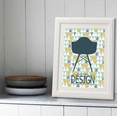 affiche scandinave avec chaise Eames : Affiches, illustrations, posters par alexiableu