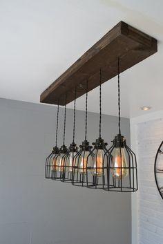 Farmhouse chandelier Pendant Lighting Wood Light Kitchen Light Chandelier reclaimed wood wood fixture Flush mount light - Dining room lighting, Kitchen island lighting, Wood pendant light, Farmhouse l -