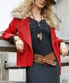 Look what I found on #zulily! Red Faux Fur-Collar Zipper-Accent Jacket #zulilyfinds