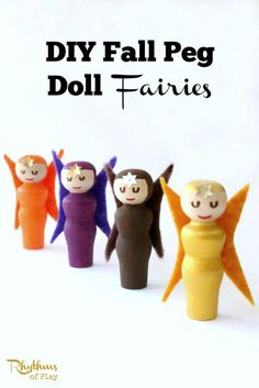 DIY Peg Doll Fairies - These cute little fall peg doll fairies are surprisingly easy to make. All you need is a few simple materials and a spare hour. They are a wonderful addition to nature tables, fairy gardens, and are a lovely way to decorate for fall. They are also great to use for pretend play.