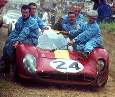 """Le Mans 1967 , Ferrari 330P4 . Mairesse - """"Beurlys"""" drove it to the third place . #LeMans #24hours #Ferrari #330P4"""
