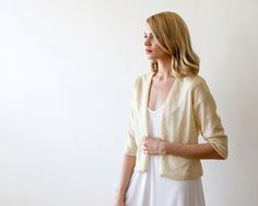 Sequin cream color bridal jacket Long sleeves by BLUSHFASHION