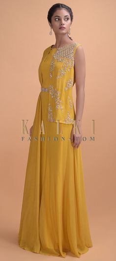 Mustard yellow jumpsuit in crepe with embellished attached half jacket with pearls, beads, zardosi and pita zari work. Indian Fashion Designers, Indian Designer Wear, Indian Gowns, Indian Outfits, Designer Jumpsuits, Designer Dresses, Mustard Yellow Outfit, Beautiful Dress Designs, Yellow Jumpsuit