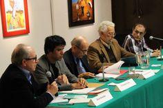 Segunda presentación, en la Universidad Autónoma de la Ciudad de México. Dr. Enrique Dussel, Gral. Walter Martínez, Óscar Gonzáles, don Sergio Naranjo y nuestro editor E Tonatiuh Trejo.