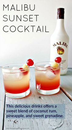 Malibu Sunset Cocktail This delicious drink recipe offers a sweet blend of coconut rum, pineapple juice, and sweet grenadine syrup. Pop a cherry and Pineapple garnish in for your new favorite beach drink! Beach Drinks, Fancy Drinks, Luau Drinks, Refreshing Drinks, Yummy Drinks, Malibu Cocktails, Drinks With Malibu Rum, Alcoholic Drinks Made With Pineapple Juice, Cocktail Recipes Grenadine