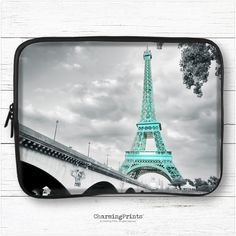 Macbook, laptop, hp, dell, tablet, ipad, pro, air, 10, 11, 13, 15, sleeve, eiffel tower, turquoise, travel, gift, CharmingPrints™