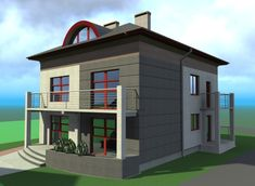 "Przebudowa domu jednorodzinnego typu ""kostka"" z lat 60-tych Home Fashion, Houses, Exterior, House Design, Mansions, House Styles, Home Decor, Homes, Decoration Home"