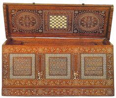 Cassa, venice c1500. walnut inlaid with ivory and colored woods. London, Victoria and Albert Museum. In Private Lives in Renaissance Venice, Patricia Fortini Brown, 2004 Yale Univ Press