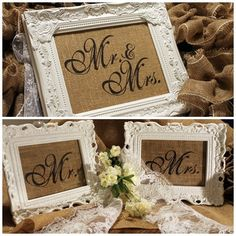Wedding Burlap Prints Set Mr & Mrs by GGsBrierPatch on Etsy, $28.00