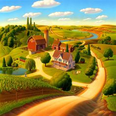 Summer on the Farm by Robin Moline ~ countryscape acrylic