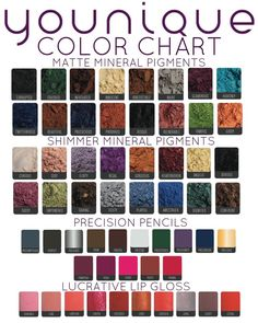 Younique Mineral Pigment Color Chart www.youniqueproducts.com/kimcando