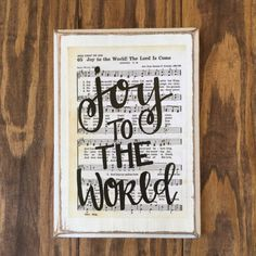 Joy to the World Hymn Board - hand lettered wood sign, Christmas wood sign, Christmas decor