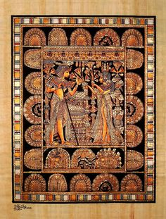 "Ancient Egyptian Art on Egyptian Papyrus. Unique Handmade Art For Sale at arkangallery.com | Title: ""King Tut's Wedding Scene"" 