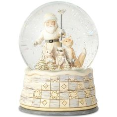 Jim Shore Woodland Santa Snow Globe ($55) ❤ liked on Polyvore featuring home, home decor, holiday decorations, white, jim shore, santa snow globe, snow white snow globe, handmade home decor and white home decor