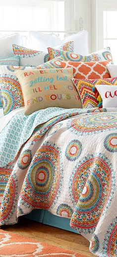 Bring vibrant colors and boho chic prints to your bedroom with the Levtex Home Lira Quilt Set. This quilt set is perfect for adding a colorful pop to your bedroom decor using scalloped florals and rows of alternating prints. King Quilt Sets, Queen Quilt, King Quilts, Bed Quilts, Bed Sets, Cute Bedding, Bedding Sets, Quilt Bedding, Horse Bedding