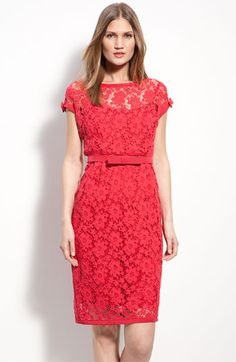 Get this look: a Bright red with floral crochet dress by Nanette Lepore. Perfection!