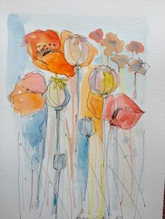 water colour poppies