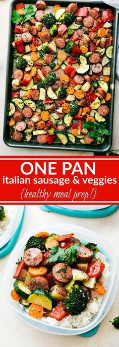 ONE PAN Healthy Italian Sausage & Veggies! Easy and delicious! Great MEAL PREP OPTION! via chelseasmessyapro... Kung Pao Chicken, Pasta Salad, Italian Sausages, Crab Pasta Salad