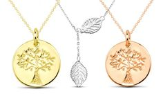 Sterling Silver Leaf or Tree Pendant Necklace. Multiple Options Available from $12.99–$19.99. Free Returns.