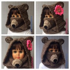 Crochet Patterns Bear Hooded Cowl Instant by nuttypatterns Crochet Hood, Crochet Bear, Crochet For Kids, Knitting Wool, Knitting Patterns, Crochet Patterns, Hooded Cowl, Crochet Scarves, Crochet Projects