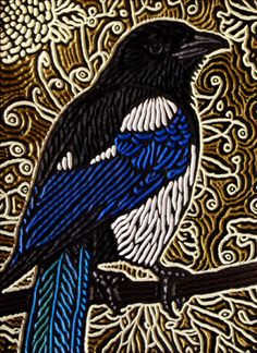 "Magpie painted woodcut block  on salvaged Douglas Fir 11"" x 15"" Lisa Brawn 2013"