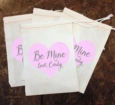 Valentine's Day Candy Bags - Classroom Valentine Party / Kids Be Mine Card Replacement / Personalized Heart Treat Bag / Girls Class Gift by ScrapendipityBags on Etsy