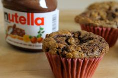 Banana Nutella Muffins with Flax